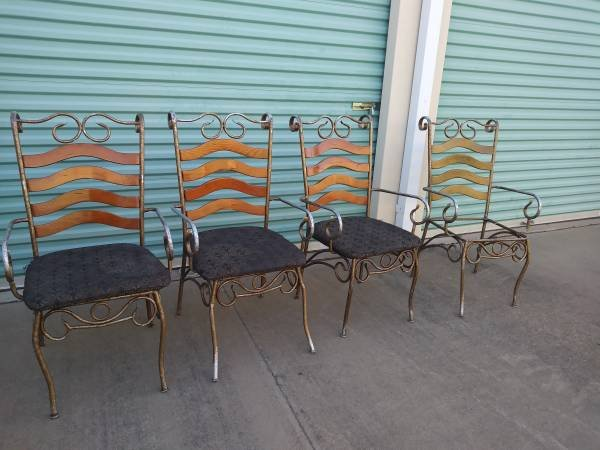 4 Cafe Bistro Distressed Soda Shop Shabby Chairs In Fairfield