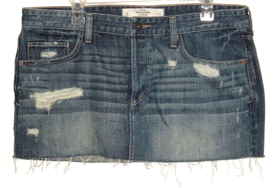 cd8fe27358 Abercrombie Fitch Button Fly Distressed Cut Off Denim Jean Skirt 12  Measures 36